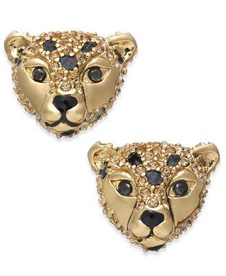 kate spade new york 14k Gold-Plated Cheetah Stud Earrings