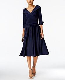 Petite Portrait-Collar Fit & Flare Dress