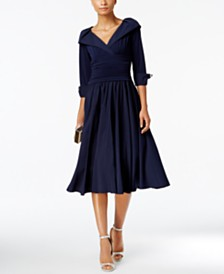 Jessica Howard Petite Portrait-Collar Fit & Flare Dress