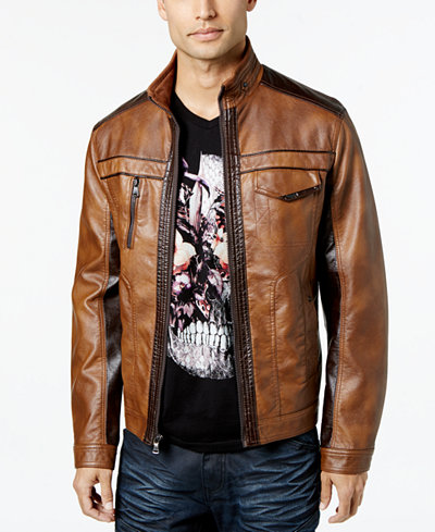 Fake leather jacket men