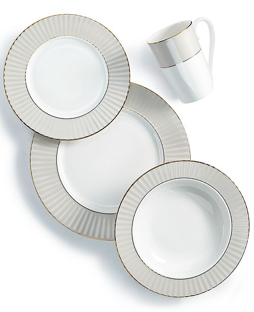 Lenox Pleated Colors Gray 4-Pc. Place Setting