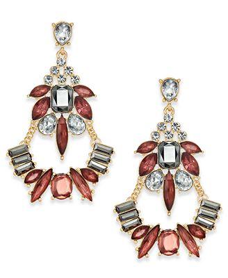 I.N.C. Gold-Tone Multi-Crystal Chandelier Earrings, Created for Macy's