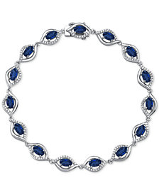 Ruby (4-3/8 ct. t.w.) & Diamond (1/2 ct. t.w.) Link Bracelet in 14k White Gold(Also Available in Emerald and Sapphire)
