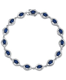 Sapphire (4-3/8 ct. t.w.) & Diamond (1/2 ct. t.w.) Link Bracelet in 14k White Gold (Also Available in Emerald and Ruby)