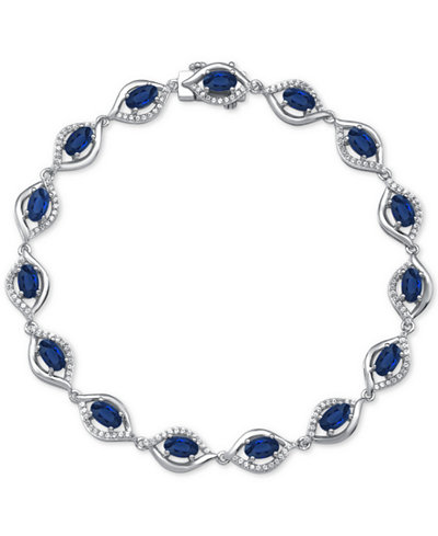 Sapphire (4-3/8 ct. t.w.) & Diamond (1/2 ct. t.w.) Link Bracelet in 14k White Gold(Also Available in Emerald and Ruby)