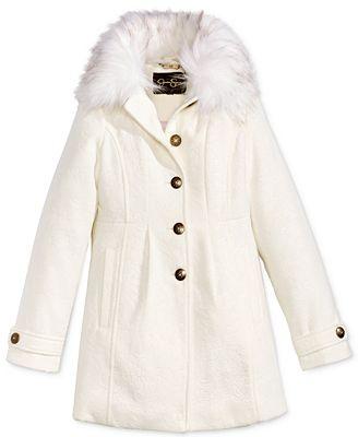 Jessica Simpson Embossed Dress Coat with Faux-Fur Trim, Big Girls ...