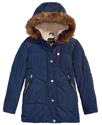 Jessica Simpson Hooded Expedition Parka with Faux-Fur Trim, Big ...