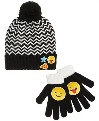 Berkshire 2-Pc. Chevron Emoji Hat & Gloves Set, Little Girls & Big Girls