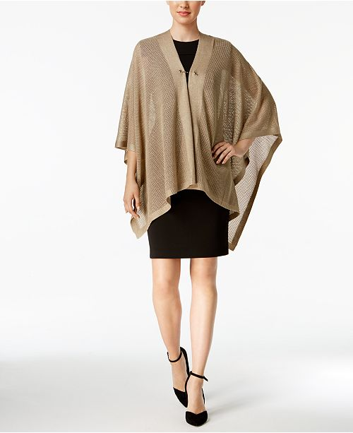 Calvin Klein Open-Knit Metallic Cape