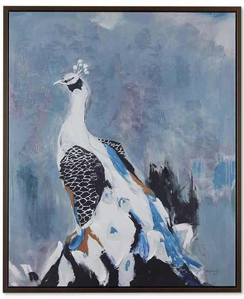 JLA Home JLA Peacock Prance Gel Coat Canvas With Bronze Frame, Quick Ship