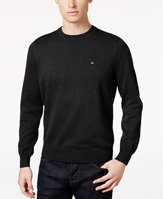 Tommy Hilfiger Men's Big & Tall Signature Solid Crew Neck Sweater ...