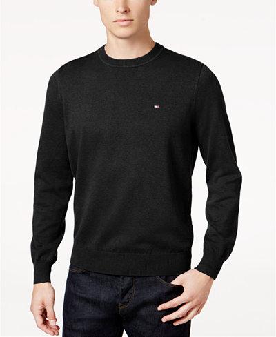 Tommy Hilfiger Men's Big & Tall Signature Solid Crew Neck Sweater ...