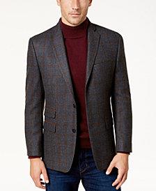 Michael Kors Men's Classic-Fit Gray & Brown Windowpane Sport Coat