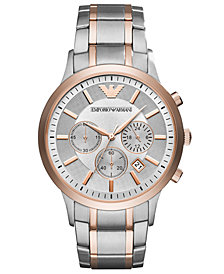 Emporio Armani Men's Chronograph Renato Two-Tone Stainless Steel Bracelet Watch 43mm