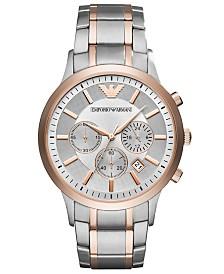 Emporio Armani Men's Chronograph Renato Two-Tone Stainless Steel Bracelet Watch 43mm
