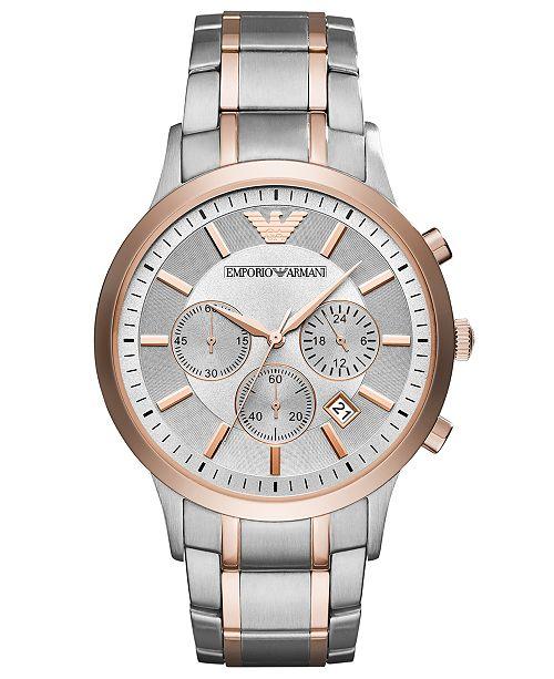 Men's Chronograph Renato Two-Tone Stainless Steel Bracelet Watch 43mm