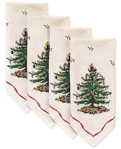 Spode Christmas Tree Napkins, Set of 4