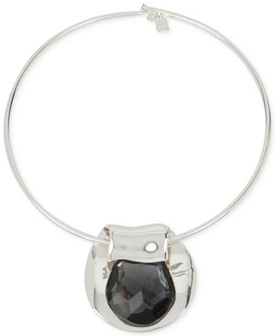 Robert Lee Morris Soho Silver-Tone Jet Crystal Circular Pendant Necklace
