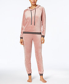 Alfani Velvet Hooded Top & Pajama Pants Sleep Separates, Created for Macy's