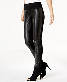 INC Petite Faux-Leather-Front Pants, Created for Macy's