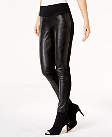 I.N.C. Petite Faux-Leather-Contrast Skinny Pants, Created for Macy's