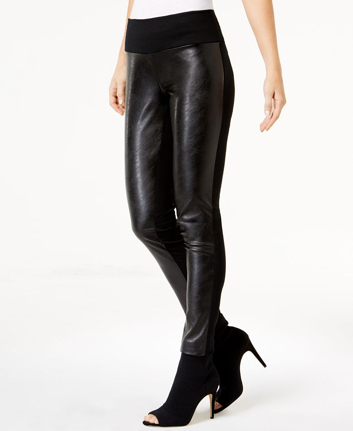 INC International Concepts - Faux-Leather-Front Skinny Pants