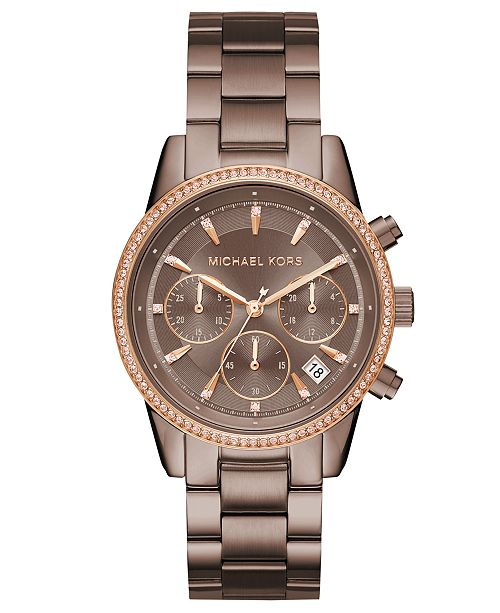 ecb6de752e50 ... Michael Kors Women s Chronograph Ritz Sable Stainless Steel Bracelet  Watch ...