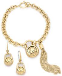 Michael Kors Gold-Tone Logo Padlock Jewelry Separates