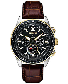 Seiko Men's Solar Chronograph Prospex Brown Leather Strap Watch 45mm