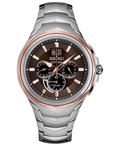 Seiko Men's Solar Chronograph Coutura Stainless Steel Bracelet Watch 46mm