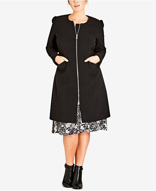 City Chic Trendy Plus Size Simple Elegance Collarless Coat Coats
