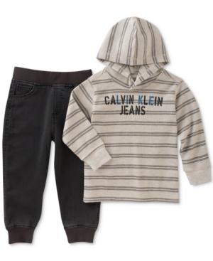 Calvin Klein 2Pc Thermal Hoodie  Jeans Set Baby Boys (024 months)
