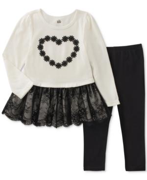 Kids Headquarters 2Pc LayeredLook Lace Heart Tunic  Leggings Set Baby Girls (024 months)