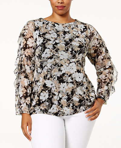 Charter Club Plus Size Ruffled Mesh Top, Created for Macy's