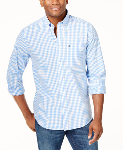 Tommy Hilfiger Men's Long-Sleeve Twain Check Classic Fit Shirt ...