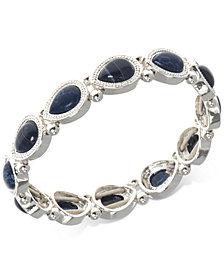 Nine West Silver-Tone Blue Stone Stretch Bracelet