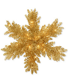 """National Tree Company 32"""" Champagne Tinsel Snowflake With 35 Battery-Operated LED Lights & Timer"""