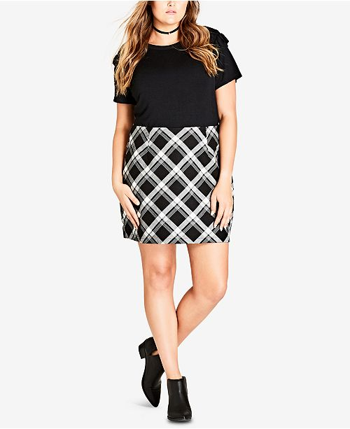 City Chic Trendy Plus Size Check Mate Skirt