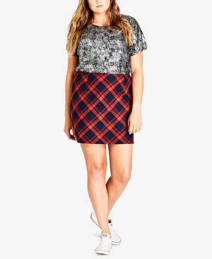 TRENDY PLUS SIZE CHECK MATE SKIRT
