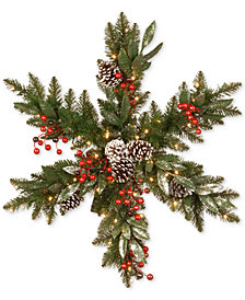 "National Tree Company 32"" Frosted Pine Berry Snowflake With 35 Warm White LED Lights"