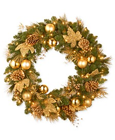 "National Tree Company 24"" Decorative Collection Wreath With 50 Battery-Operated LED Lights & Timer"