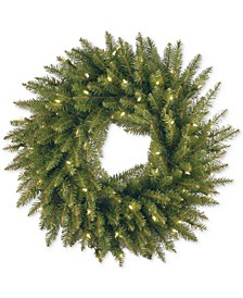 "24"" Dunhill Fir Wreath With 50 Clear Lights"