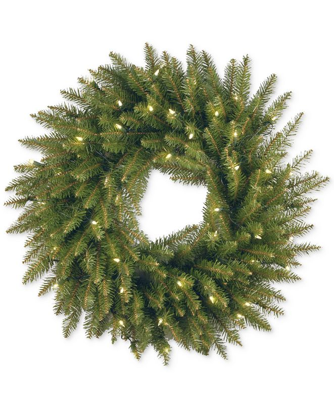 "National Tree Company 24"" Dunhill Fir Wreath With 50 Clear Lights"