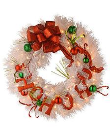 "National Tree Company 24"" Decorative Collection Ho Ho Ho Wreath With 50 Battery-Operated LED Lights"