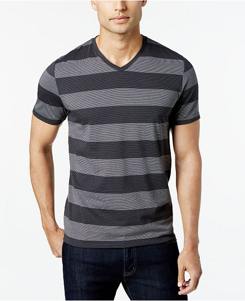 07d43e0265dc ... Alfani Men's Wide Striped V-Neck T-Shirt, Created for Macy's ...