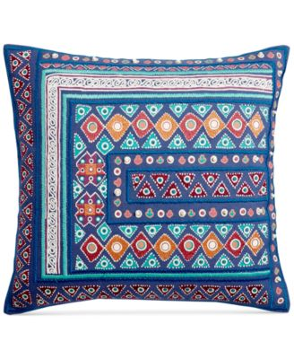 Mahal Cotton Embroidered 18'' Square Decorative Pillow, Created for Macy's