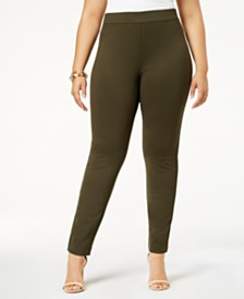 I.N.C. Plus Size Skinny Pull-On Ponte Pants, Created for Macy's
