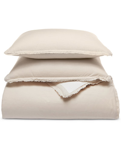 Whim by Martha Stewart Collection Cotton Linen Reversible 3-Pc. Oatmeal Full/Queen Comforter Set, Created for Macy's