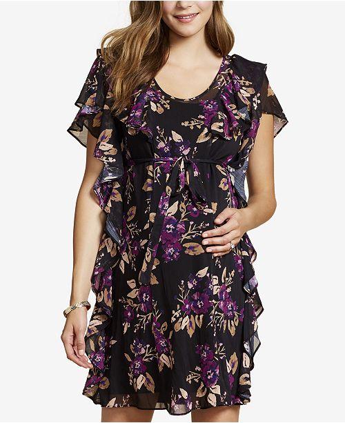 d21e7d4d45a Jessica Simpson Maternity Ruffled Floral-Print Dress   Reviews ...