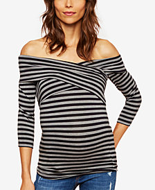 A Pea In The Pod Maternity Striped Off-The-Shoulder Top
